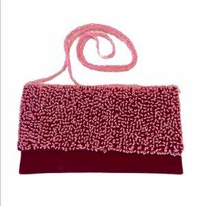 Shiraleah Clutch Pink Purse Velvet Beads Cottage